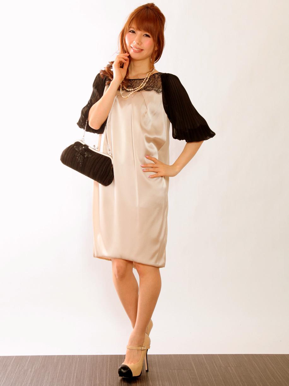 アコーディオンプリーツ袖が可愛いお呼ばれドレス