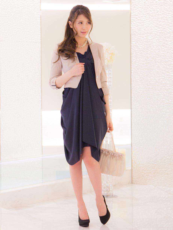 ジャケットボレロを羽織ればかっちりコーデになるお呼ばれドレス