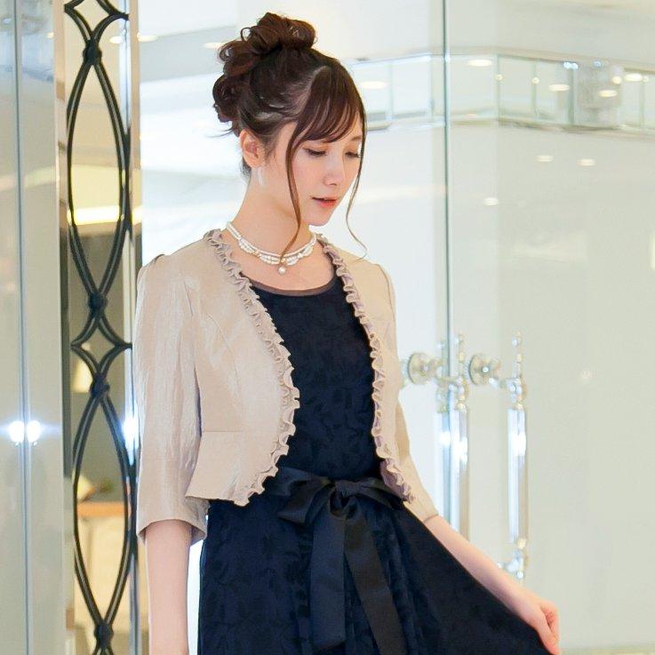 結婚式や披露宴に最適なシャンパンゴールドの羽織り