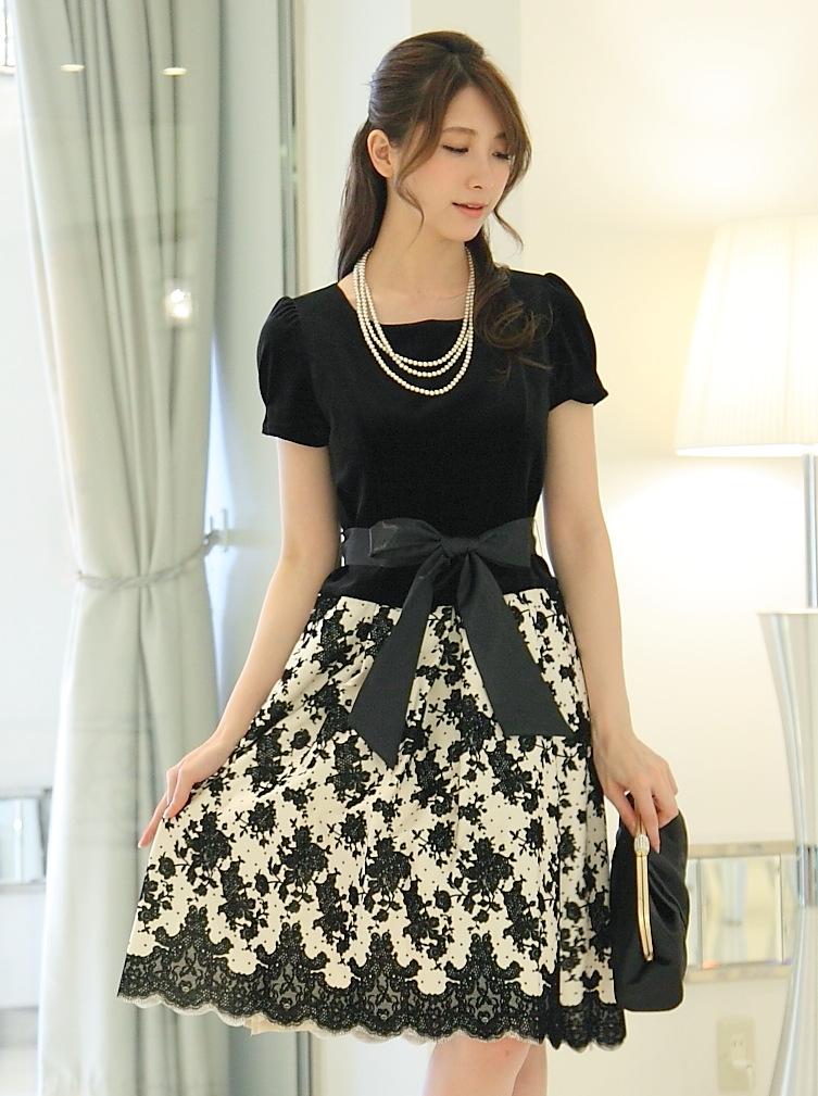 日本製袖あり上品ワンピース