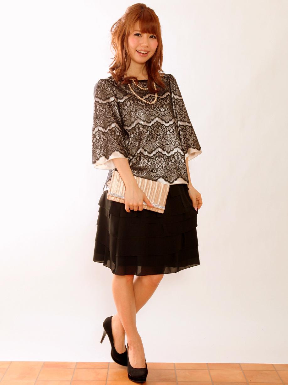 高級感のある日本製お呼ばれ袖ありドレス