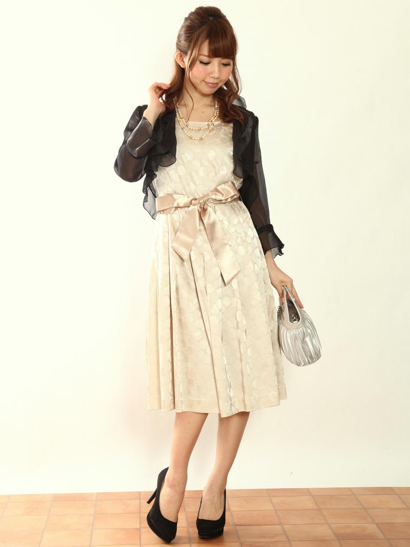 日本製お呼ばれベージュドレス
