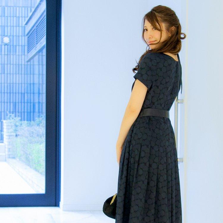 日本製一枚でも着られるネイビー袖ありワンピース